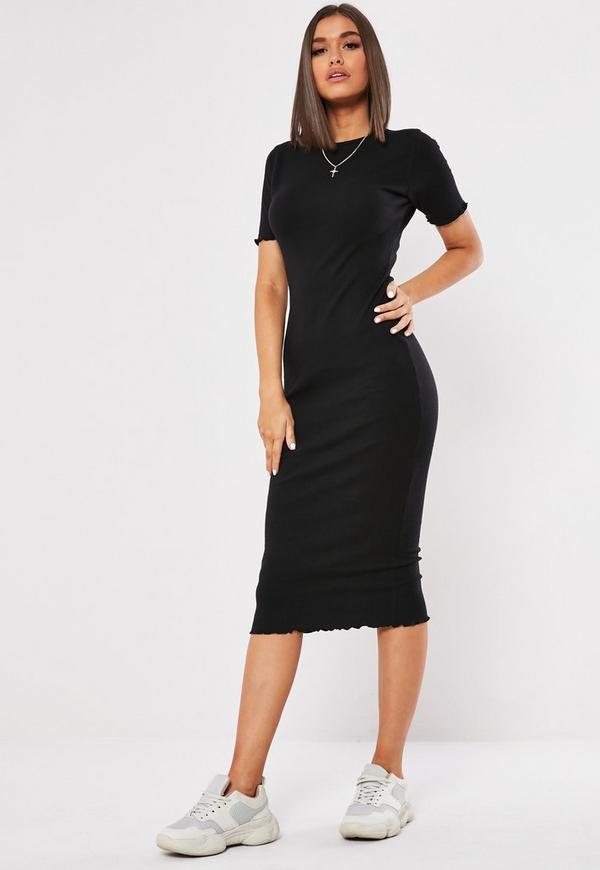 Black Ribbed Short Sleeve Lettuce Hem Midi Dress Missguided