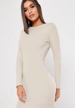 e099c74bc2a Stone Ribbed Long Sleeve Lettuce Hem Mini Dress