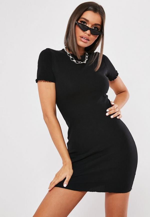 Black Ribbed Short Sleeve Lettuce Hem Mini Dress Missguided