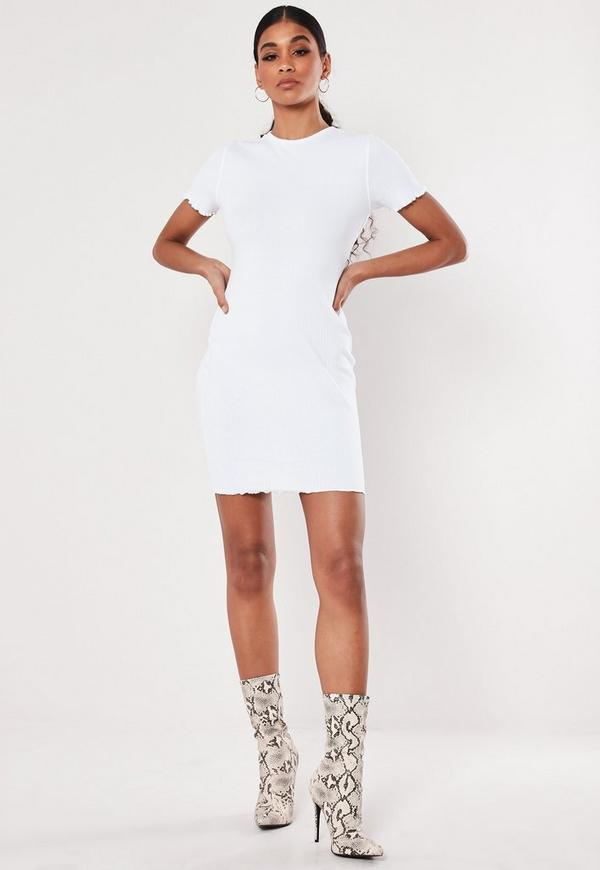 fb9cc229 White Tie Front Button Down Strappy Midi Dress. $56.00. stone one shoulder  slinky bodycon ruched midaxi dress. $50.00. White Ribbed Short Sleeve  Lettuce Hem ...