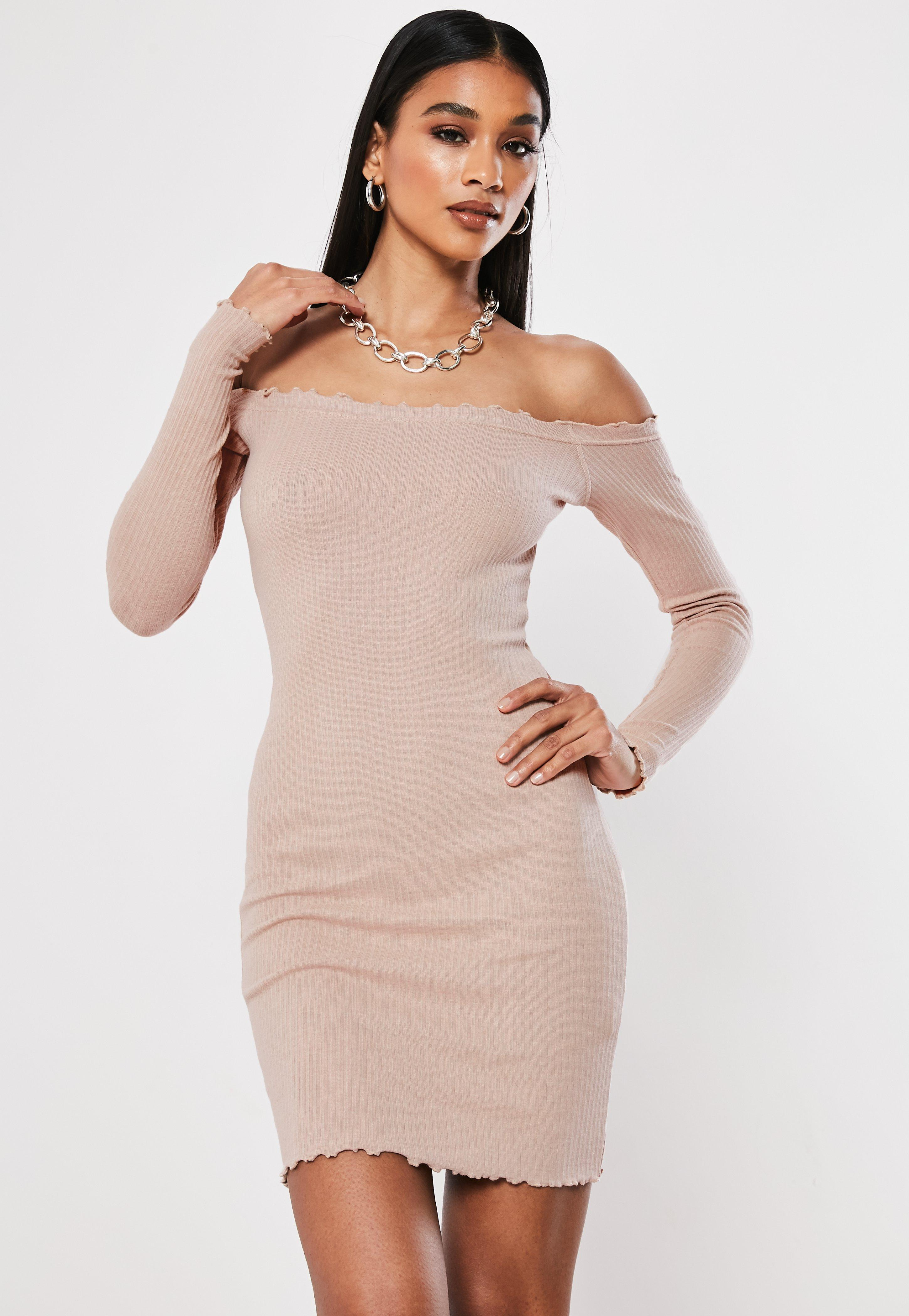 Ladies Womens Off The Shoulder 3//4 Sleeve Ribbed Bardot Curved Hem Bodycon Dress