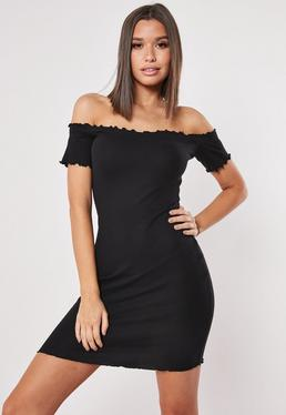 fe38b43c48389 ... Black Ribbed Short Sleeve Bardot Bodycon Mini Dress