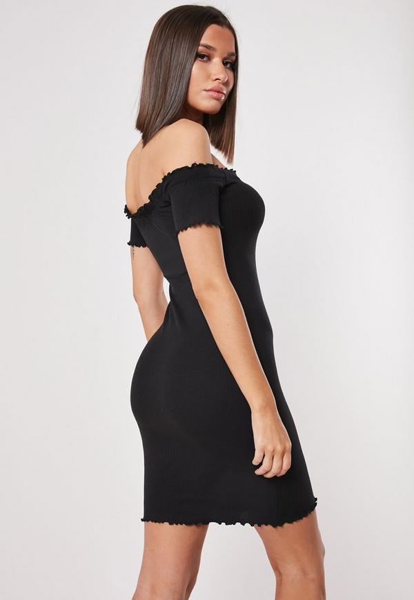 Black Ribbed Short Sleeve Bardot Bodycon Mini Dress