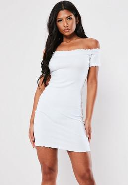67a92411e21c ... White Lettuce Edge Ribbed Bardot Mini Dress