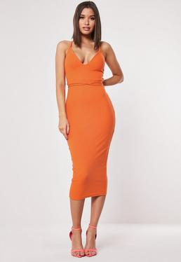 583a95ebbbc95 Orange Ribbed Multiway Strap Midi Dress