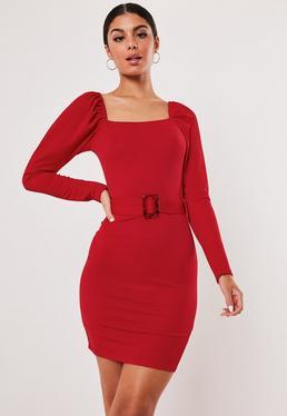 Мини-платье с поясом Red Milkmaid