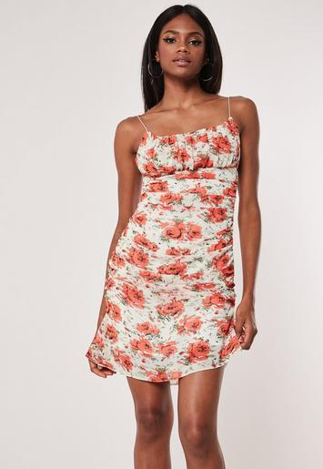 Orange Floral Ruched Side Mini Dress Missguided