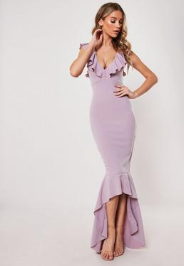 0f605cf3587 Lilac Frill Strap Fishtail Bodycon Midi Dress