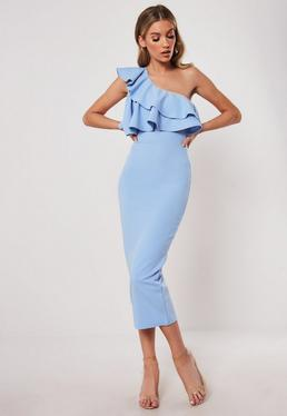 7a29570fa4 Light Blue One Shoulder Ruffle Bodycon Midi Dress