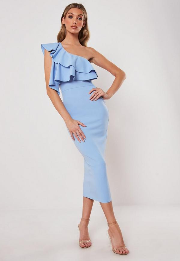 Topshop long shoulder light bodycon blue dress one and