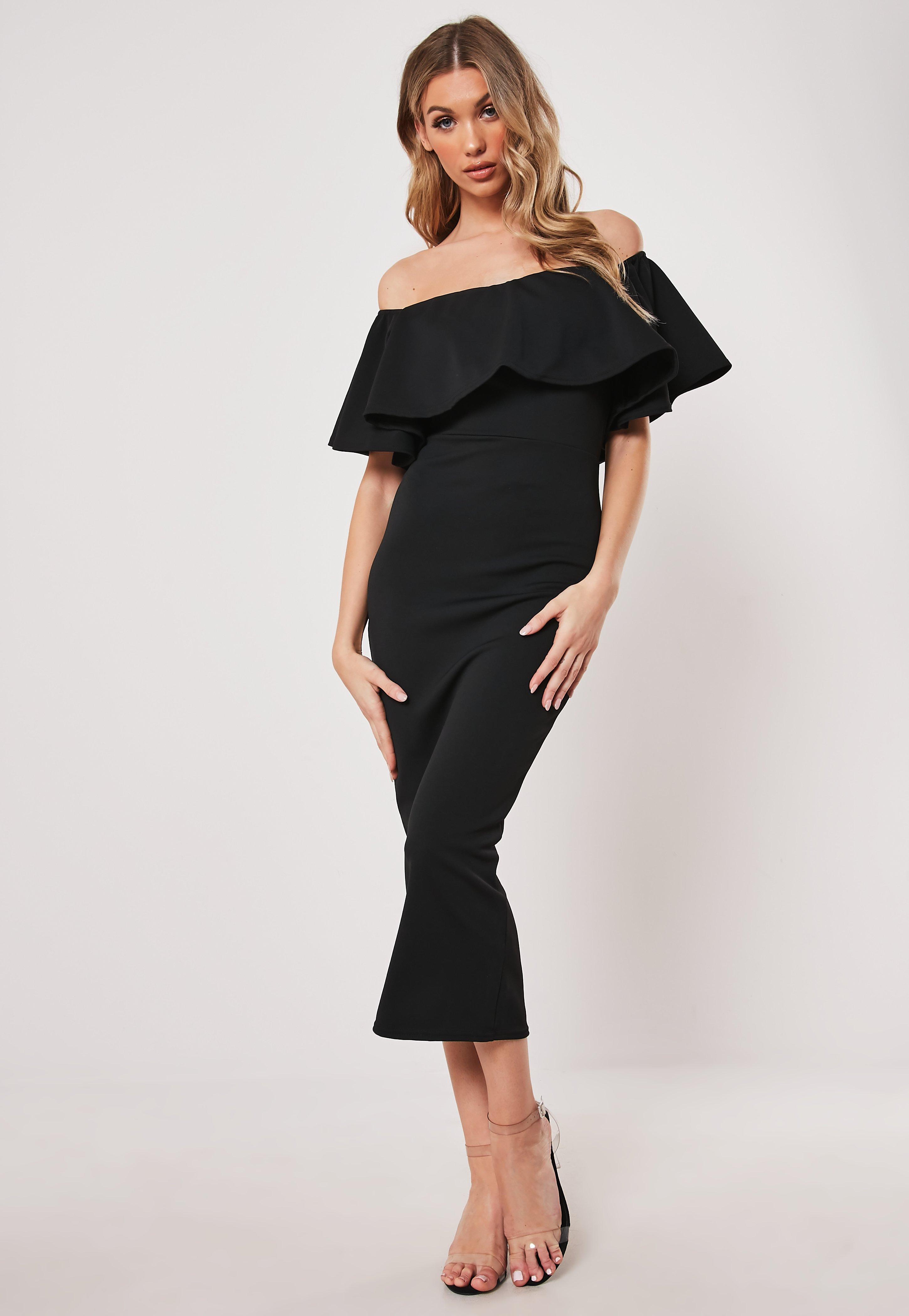 82ec89bf3e823 Black Bardot Frill Bodycon Midi Dress | Missguided Australia