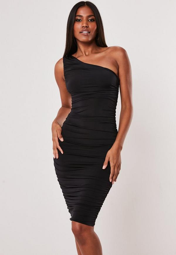 Black Slinky Ruched One Shoulder Bodycon Midi Dress