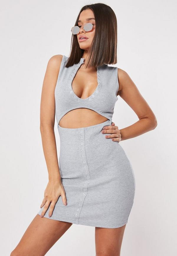 Grey bodycon mini dress