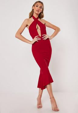64f2a49dda8 ... Red Cross Front Halter Fishtail Midi Dress