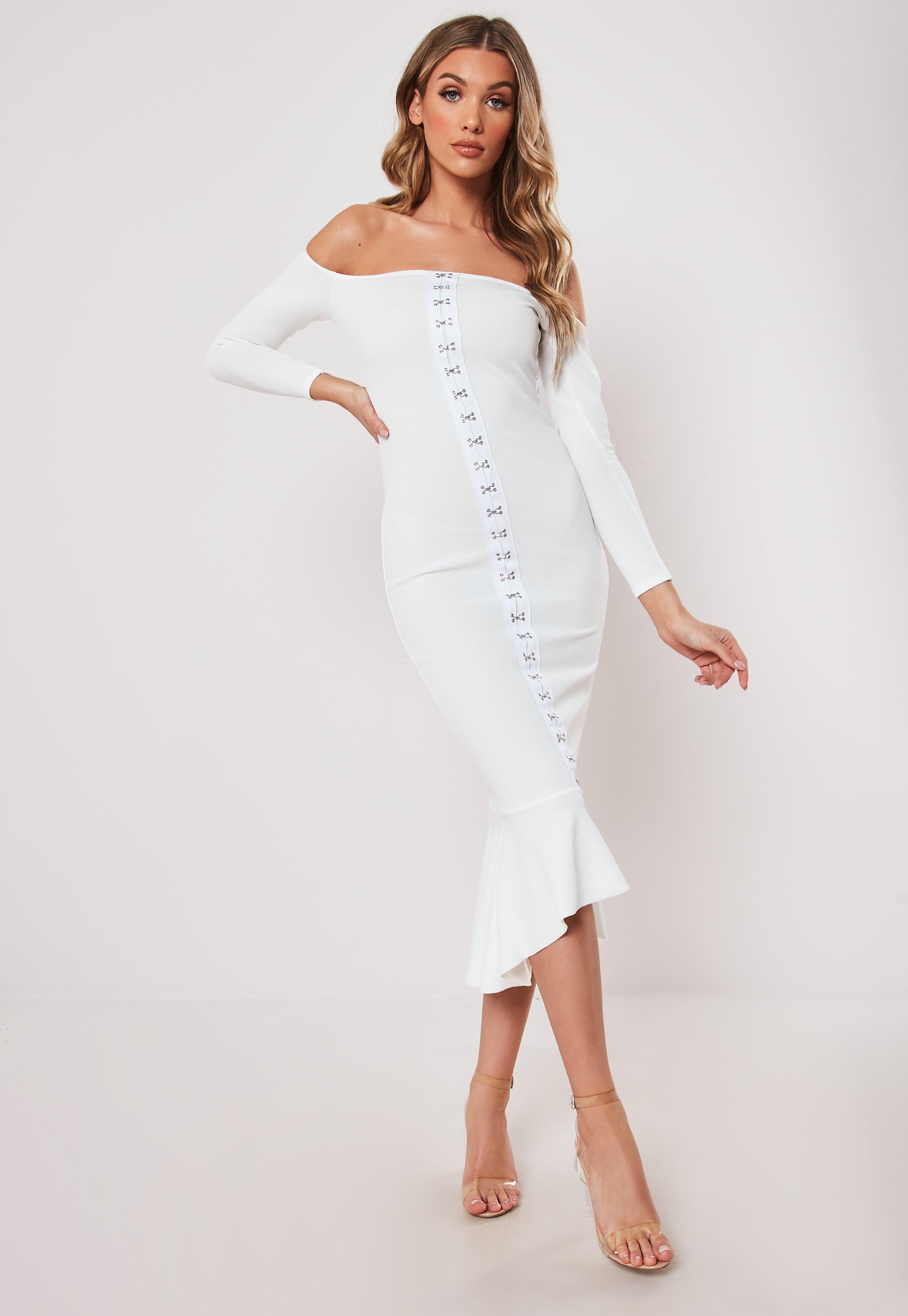 8e13203f88a White Hook And Eye Fishtail Bodycon Midi Dress