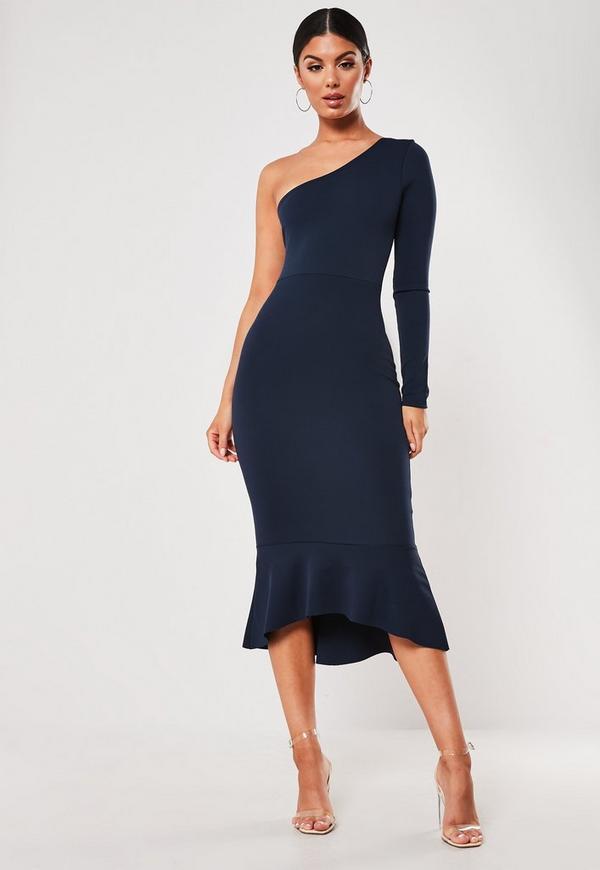 Free catalogs fishtail shoulder navy one dress bodycon midi make you look