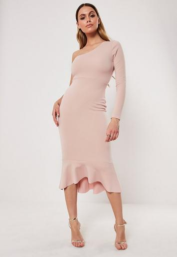 Pinterest dress one shoulder navy bodycon fishtail midi velvet