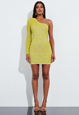 Миниатюрное платье на одно плечо с отделкой желтым бисером Peace + Love