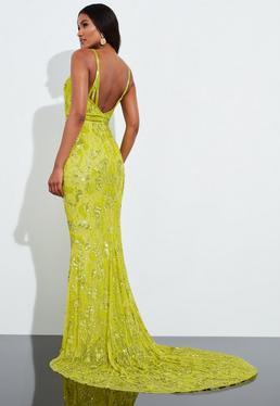 Платье макси Fishta Love с желтыми блестками и рыбой