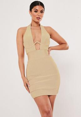 cccedbe21a Premium Champagne Bandage Cup Detail Halterneck Bodycon Mini Dress