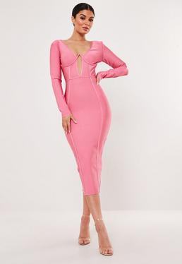 bceb7fe952 Premium Pink Bandage Cup Detail Midi Dress