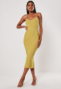 28793ffe4 Premium Yellow Bandage Cross Front Cami Midaxi Dress