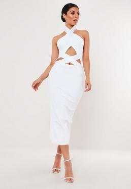 aec8d59cb8b White Bandage Cross Front Cut Out Midi Dress
