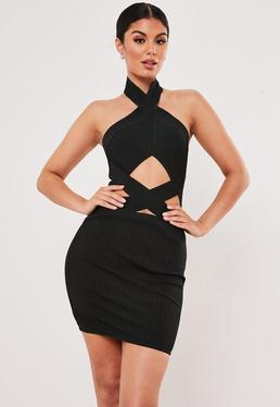 f60d334a4a0 Premium Black Bandage Cross Front Cut Out Bodycon Mini Dress