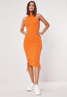 5d6802ecbd90 Orange Ribbed Lace Up Side Midaxi Dress