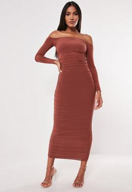 cba6bcc1a18 Rust Bardot Slinky Ruched Bodycon Midaxi Dress