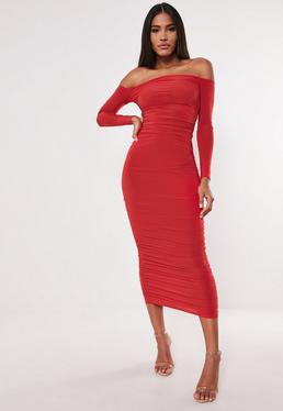 abba138604ddf ... Red Bardot Slinky Ruched Bodycon Midaxi Dress