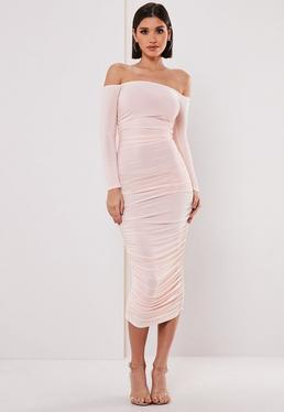 66d4e86b3db Lime Bardot Lace Bodycon Midi Dress · Blush Bardot Slinky Ruched Bodycon  Midaxi Dress