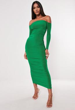 7bd21a5a4eba ... Green Bardot Slinky Ruched Bodycon Midaxi Dress