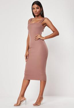 d3f56b5e87a Nude Square Neck Raw Edge Ribbed Midaxi Dress