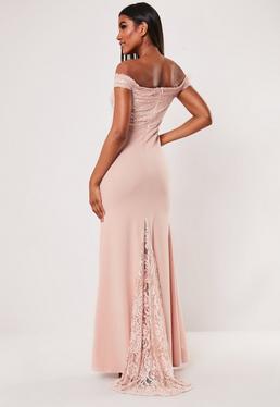 8e6ca5f2e43 Bridesmaid Blush Lace Bardot Fishtail Maxi Dress