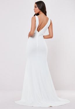 0d650cb4de Vestido largo con espalda caída sin mangas en blanco