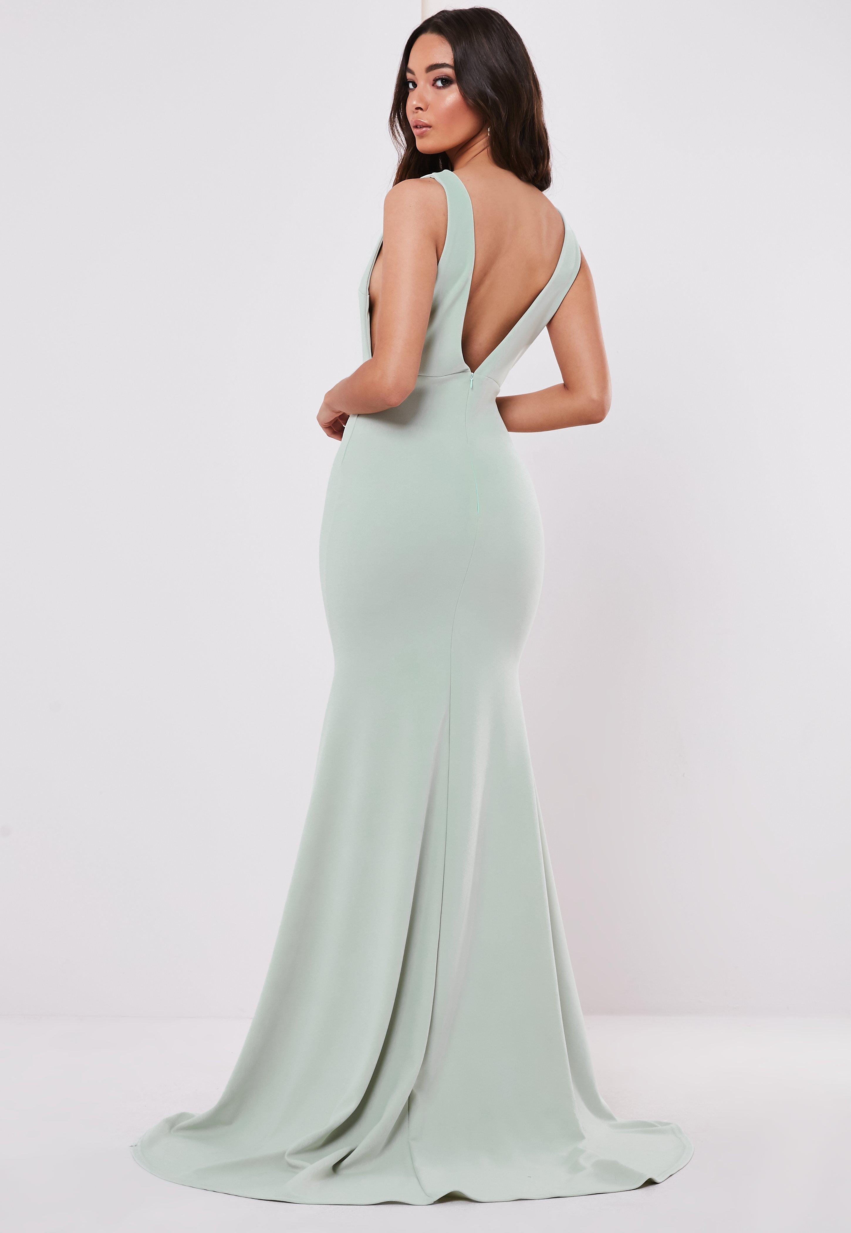 63672a1703f8 Emerald Green Criss Cross Back Frill Hem Bodycon Dress