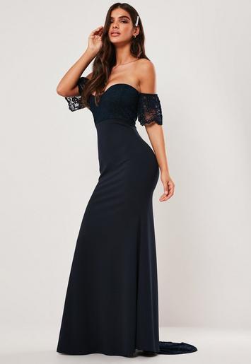 Missguided Bridesmaid Navy Bardot Lace Detail Fishtail Maxi Dress