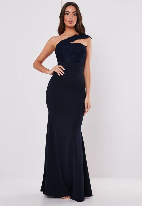 91310e93da Tall Bridesmaid Navy Bardot Lace Detail Fishtail Maxi Dress ...