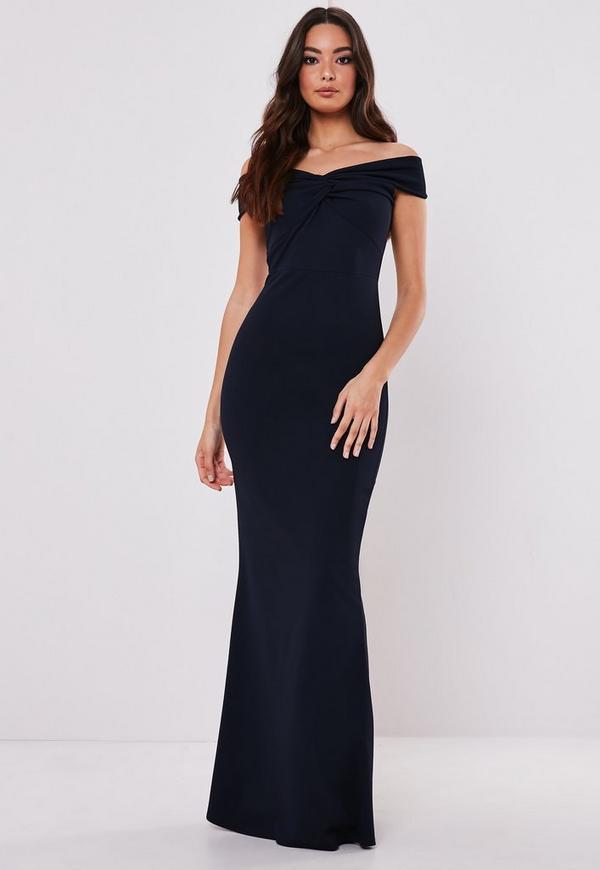 7a2723ccce9 Bridesmaid Navy Bardot Lace Insert Fishtail Maxi Dress