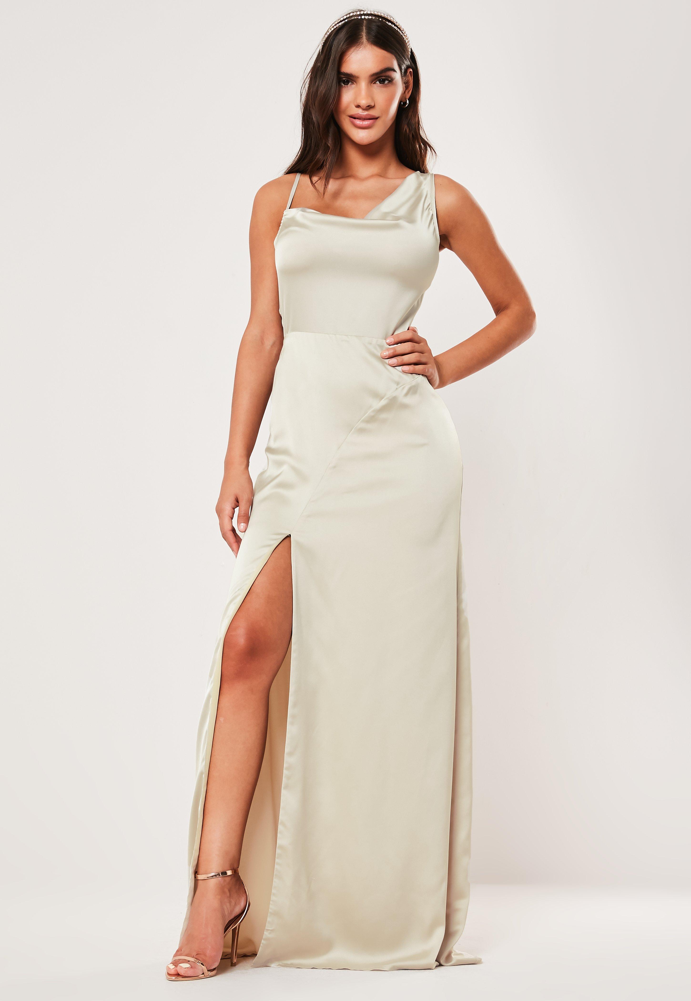 179ff698c9 Bridesmaid Champagne Satin Cowl Neck Maxi Side Split Dress