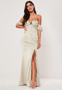 Платье макси для подружек невесты с шампанским