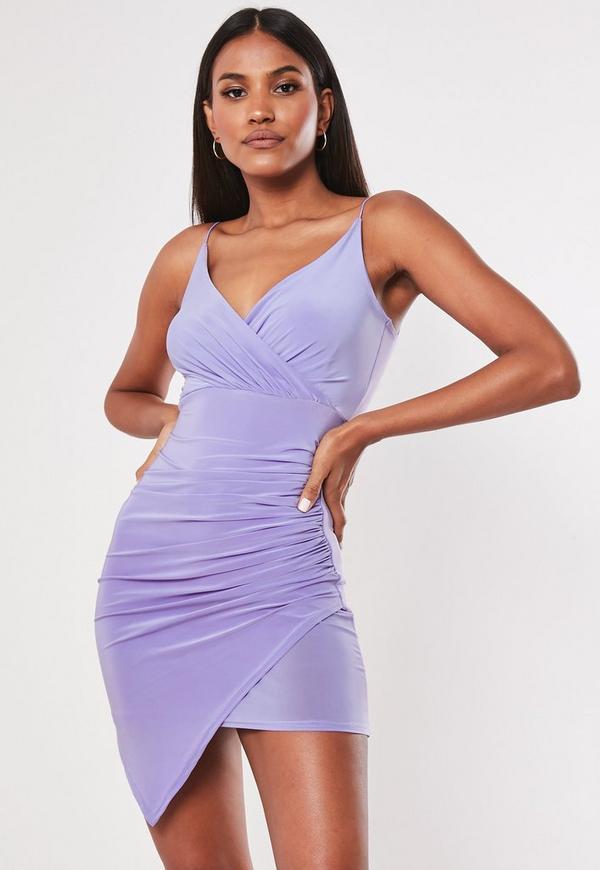 Lilac Strappy Slinky Wrap Bodycon Mini Dress Missguided