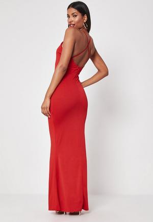 975215654 £28.00. red cross back high neck maxi dress
