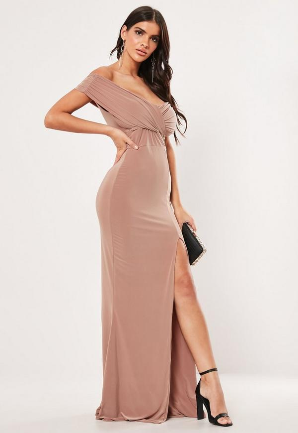 Mink Bardot Wrap Slit Slinky Maxi Dress Missguided