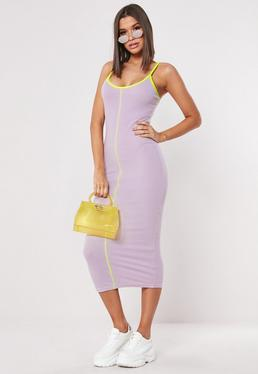 6e8bcc778a72 Lilac And Neon Green Piped Midaxi Dress