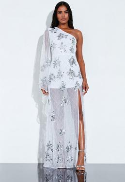 19feb0f0dc3e Peace + Love White Sequin Embellished One Sleeve Maxi Dress