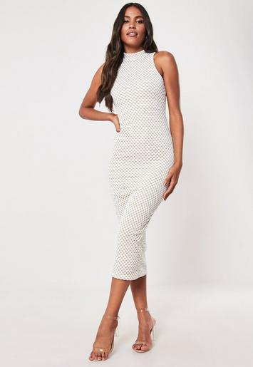 White Layered Mesh Fishnet Midi Dress Missguided