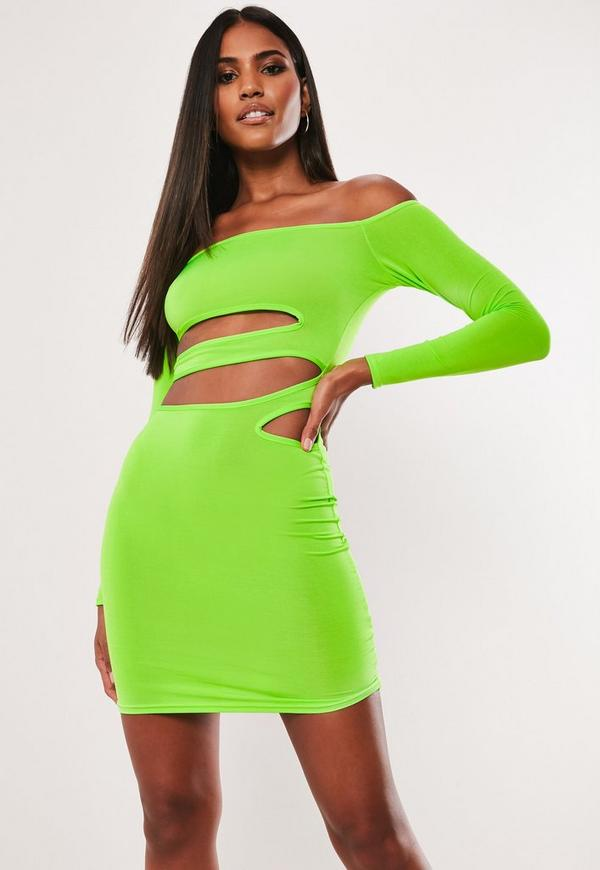 Neon Green Cut Out Bardot Bodycon Mini Dress Missguided
