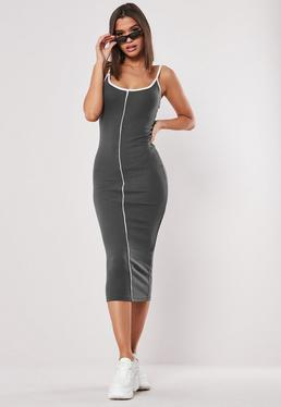4ccbecd10870 Gray And White Piped Midaxi Dress